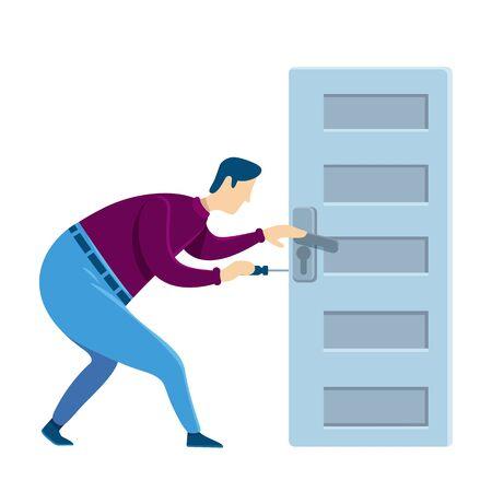 Door knob fixing flat color vector faceless character. Handyman fixes loose handle. Home maintenance and improving. Housekeeping DIYs. House repairing isolated cartoon illustration Ilustração