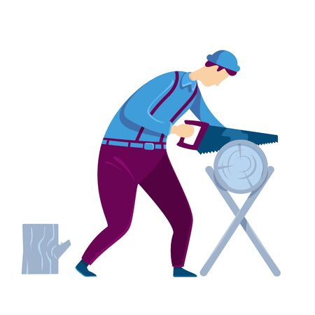 Carpenter flat color vector faceless character. Man hand sawing tree trunk. Craftsman with timber. Lumberjack work process. Workshop desk. Home repair isolated cartoon illustration