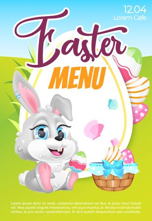 Easter menu poster flat vector template. Pascha brunch invitation. Brochure, booklet one page concept design with bunny and eggs kawaii cartoon characters. Spring holiday rabbit. Flyer, leaflet