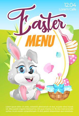 Modèle vectoriel plat d'affiche de menu de Pâques. Invitation au brunch de Pâques. Brochure, conception de livret d'une page avec des personnages de dessins animés kawaii de lapin et d'œufs. Lapin de vacances de printemps. Flyer, dépliant
