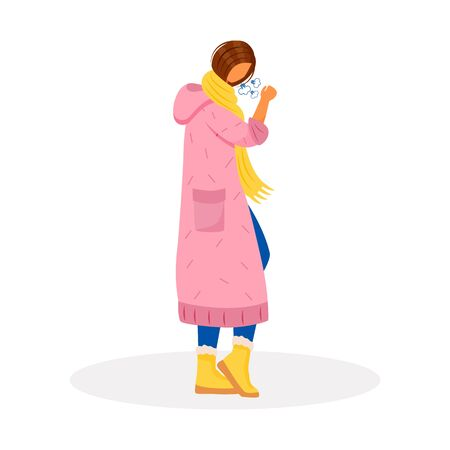 Coughing flat color vector faceless character. Woman with sore throat. Female patient with flu. Person sick with infection. Bronchitis, lung illness. Symptom of disease isolated cartoon illustration Vectores