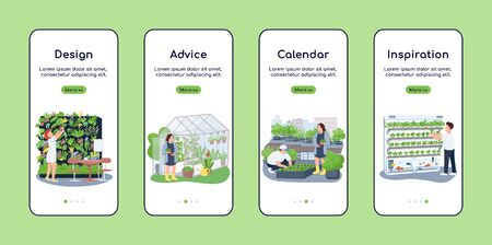 Landscape design onboarding mobile app screen flat vector template. Gardener advice and calendar. Walkthrough website steps with characters. UX, UI, GUI smartphone cartoon interface, case prints set 向量圖像