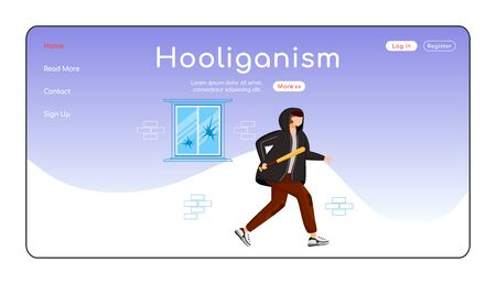 Hooliganism landing page flat color vector template. Public property destruction. Intentional damage. Homepage layout. One page website interface with cartoon character. Web banner, webpage