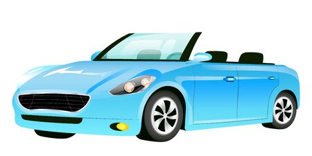 Blue cabriolet cartoon vector illustration. Fashionable car without roof flat color object. Luxurious auto, modern personal transport isolated on white background. Stylish automobile side view