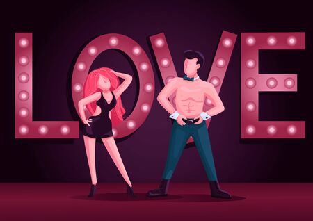 Male and female strip dancers flat color vector illustration. Attractive man and woman dance performance 2D cartoon characters. Striptease show with night club lights on background