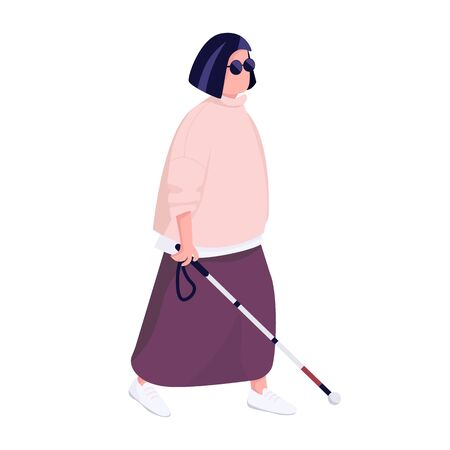 Blind woman with walking stick flat color vector faceless character. Middle aged male person with eyesight disability isolated cartoon illustration for web graphic design and animation  イラスト・ベクター素材