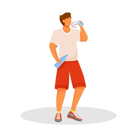 Thirsty flat color vector faceless character. Man with diabetes. Athlete drinks water. Symptom of disease. Person after workout with bottle. Dehydration isolated cartoon illustration