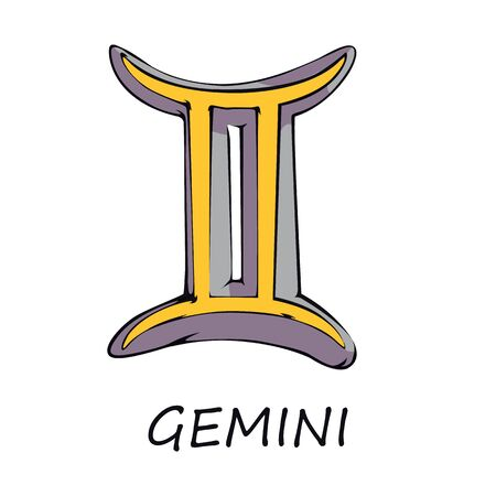 Gemini zodiac sign flat cartoon vector illustration. Twins celestial air symbol with name. Astrological horoscope prediction object. Astrology chart yellow element. Isolated hand drawn item 向量圖像
