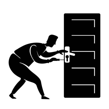 Handyman fix door knob black silhouette vector illustration. Handyman fixes handle. Craftsman standing person pose. House repair worker 2d cartoon character shape for commercial, animation, printing