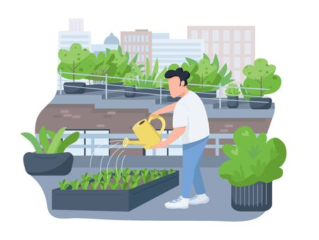 Plants watering 2D vector web banner, poster. Man holding watering can, horticulturist flat character on cartoon background. Growing greenery on house roof printable patches, colorful web elements