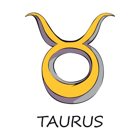 Taurus zodiac sign flat cartoon vector illustration. Bull celestial and mythological symbol. Astrological horoscope prediction object. Astrology chart element. Isolated hand drawn item