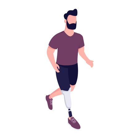 Man with artificial leg running flat color vector faceless character. Handicap sportsman exercising. Young man with limb prosthesis isolated cartoon illustration for web graphic design and animation Illustration