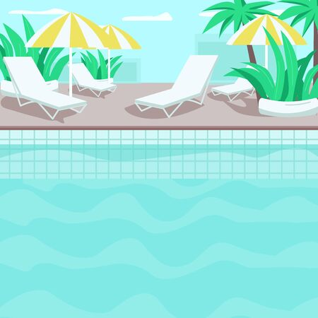 Poolside flat color vector illustration. Residential hotel. Premium tropical resort. Palms and plants. Clear blue water. Pool 2D cartoon landscape with loungers and umbrellas on background