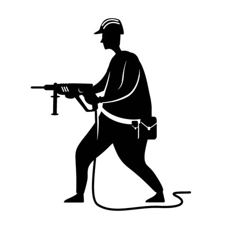 Construction worker black silhouette vector illustration. Builder with drill. Home repairs. Working person pose. Handyman 2d cartoon character shape for commercial, animation, printing