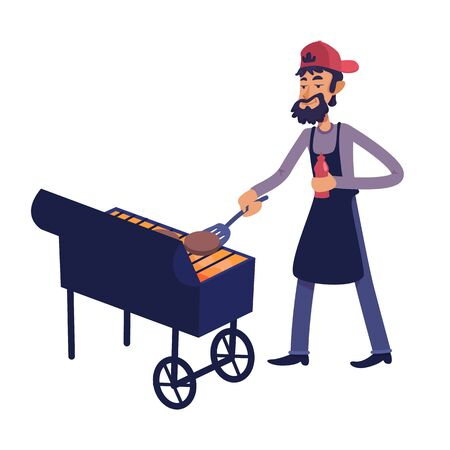 Chef grilling meat flat cartoon vector illustration. Man cooking food for outdoor barbecue. Ready to use 2d character template for commercial, animation, printing design. Isolated comic hero