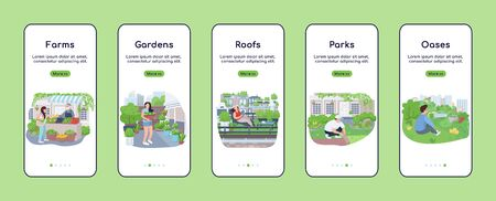 City green zones onboarding mobile app screen flat vector template. Urban agriculture. Walkthrough website steps with characters. UX, UI, GUI smartphone cartoon interface, case prints set