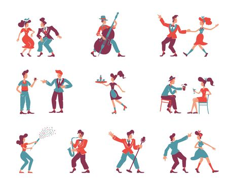 Rockabilly style people flat color vector faceless characters set. 1950s women and men. Old fashioned party dancers, jazz musicians, singers isolated cartoon illustrations on white background  イラスト・ベクター素材
