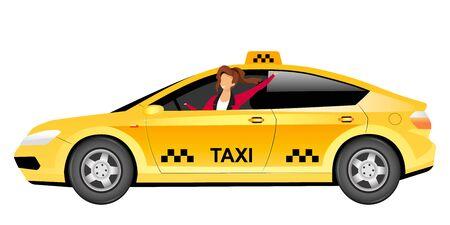 Personaje sin rostro del vector del color plano del taxista femenino. Mujer sonriente conduciendo taxi amarillo aislado ilustración de dibujos animados para diseño gráfico web y animación. Transporte publico urbano