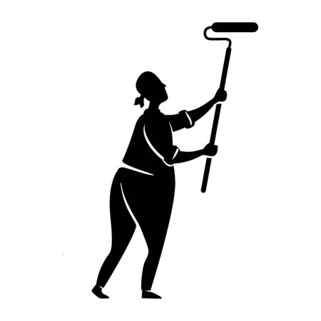 Man paint wall black silhouette vector illustration. Guy doing whitewash. Home repairs. Working person pose. Handyman 2d cartoon character shape for commercial, animation, printing