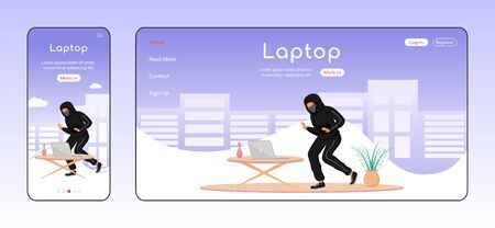 Laptop theft adaptive landing page flat color vector template. House break-in mobile and PC homepage layout. Home robbery. Illegal entry one page website UI. Webpage cross platform design