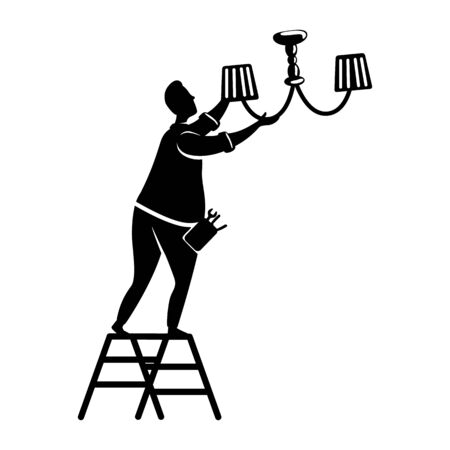 Man fixes chandelier black silhouette vector illustration. Guy changes lightbulb. Home repairs. Working person pose. Handyman 2d cartoon character shape for commercial, animation, printing