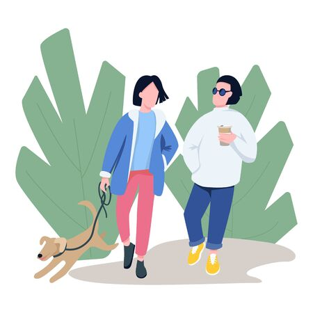 Friends walking with pet flat color vector faceless characters. Dog owner, pet lover strolling with neighbour in park isolated cartoon illustration for web graphic design and animation
