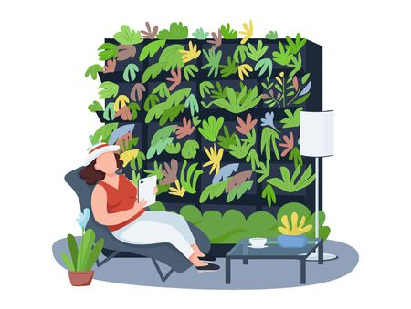 Houseplants, home coziness 2D vector web banner, poster. Female on deck chair flat characters on cartoon background. Interior decor, shelving with flowers printable patches, colorful web elements  イラスト・ベクター素材