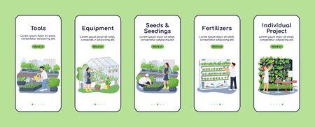 Gardening items onboarding mobile app screen flat vector template. Garden tools and seedlings. Walkthrough website steps with characters. UX, UI, GUI smartphone cartoon interface, case prints set
