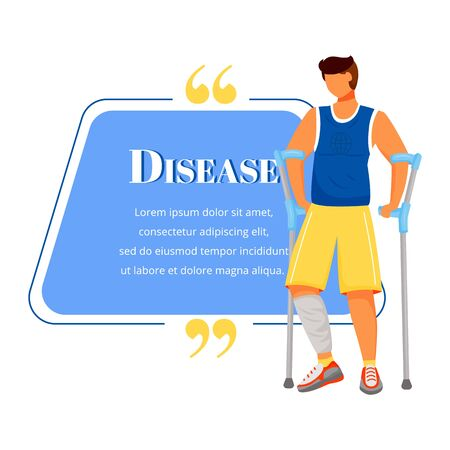 Disease flat color vector character quote. Man on crutches. Male patient with cast on leg. Broken bone, injury. Citation blank frame template. Speech bubble. Quotation empty text box design Ilustração