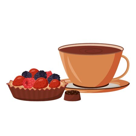 Coffee and cake cartoon vector illustration. Hot chocolate in mug. Cocoa and baked goods. Gourmet pastry. Sweet candy. Dessert flat color object. Fruit tart isolated on white background Vektoros illusztráció