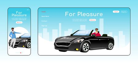 For pleasure responsive landing page flat vector template. Auto dealership service homepage layout. One page website UI with cartoon character. Luxury cars sale adaptive webpage cross platform design