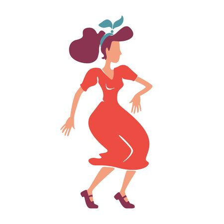 Rockabilly style lady dancing flat color vector faceless character. Pop girl with 1940s hairstyle. Old fashioned caucasian woman in red dress. Elegant swing dancer isolated cartoon illustration