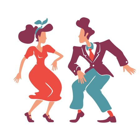 Couple dancing rock n roll, jive together flat color vector faceless characters. Old fashioned lady and gentleman. Swing dancers. Retro style woman and man at 1940s disco isolated cartoon illustration