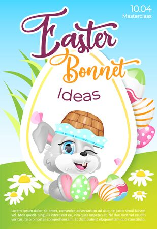 Easter bonnet poster flat vector template. Christian headcovering workshop. Brochure, booklet one page concept design with hare kawaii cartoon character. Spring holiday flyer, leaflet