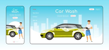 Car wash responsive landing page flat color vector template. Auto cleaning homepage layout. One page website UI with cartoon character. Power washer use adaptive webpage cross platform design