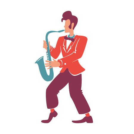 Stylish saxophonist flat color vector faceless character. Elegant jazz musician playing musical instrument. Old fashioned, retro style guy with trumpet in red blazer isolated cartoon illustration
