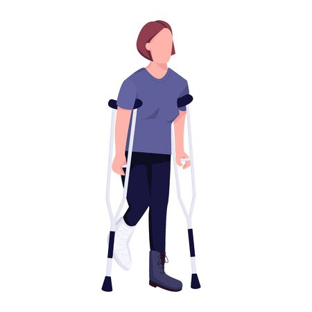 Injured woman on crutches flat color vector faceless character. Female patient with broken leg in plaster, physical trauma isolated cartoon illustration for web graphic design and animation