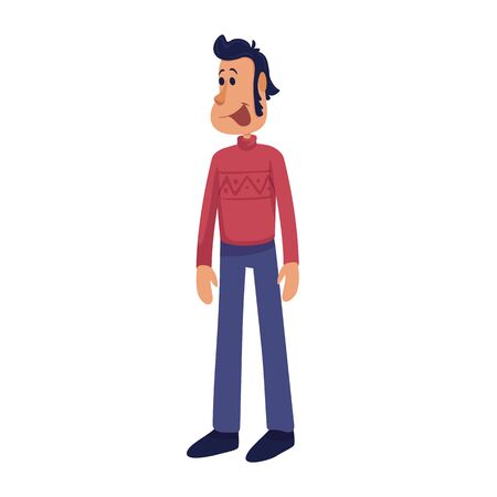 Cheerful and handsome adult man flat cartoon vector illustration. Middle aged smiling male person. Ready to use 2d character template for commercial, animation, printing design. Isolated comic hero Vectores