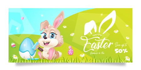 Happy pascha sales banner flat vector template. Spring Easter promo flyer design with bunny on green grass cartoon character. Printable postcard, holiday discounts and special offers horizontal poster