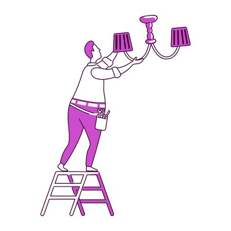 Fixing chandelier flat silhouette vector illustration. Man changing light bulb. Repairman fixes light. Electrician 2D isolated outline character on white background. Home repairs simple style drawing