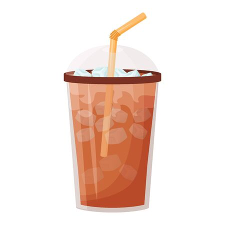 Iced americano cartoon vector illustration. Chocolate shake. Cold soda flat color object. Summer refreshment. Caffeine drink take out. Coffee with ice to go isolated on white background