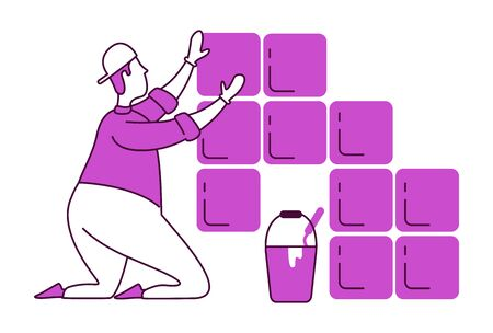 Laying tiles flat silhouette vector illustration. Professional laborer at work. Handyworker in uniform. Handyman 2D isolated outline character on white background. Home repairs simple style drawing Иллюстрация