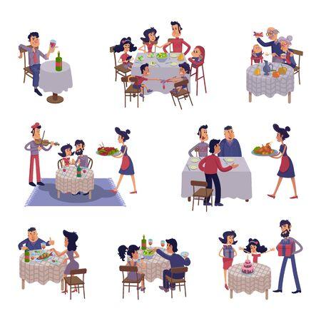 Menschen am Tisch flache Cartoon-Illustrationen-Kit. Männer und Frauen, die zu Abend essen, zusammen essen. Familienessen, Freunde treffen. Gebrauchsfertige 2D-Comic-Zeichensatzvorlagen für Werbung und Animation
