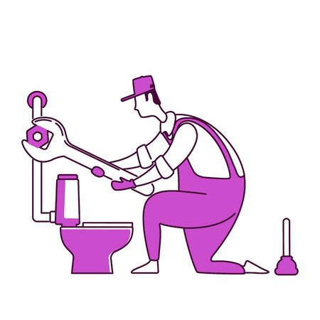 Plumbing flat silhouette vector illustration. Man replacing toilet. Handyworker fixes pipe. Plumber with wrench 2D isolated outline character on white background. Home repairs simple style drawing
