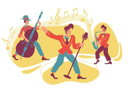 Jazz swing show 2D vector web banner, poster. Retro singer and musicians with double bass and saxophone flat characters on cartoon background. Vintage music club printable patches, colorful elements Illustration