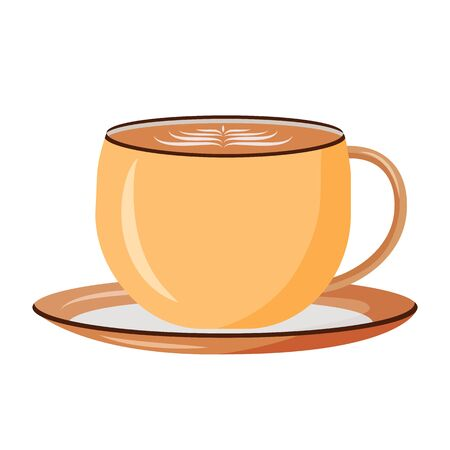 Cappuccino cartoon vector illustration. Latte in cup flat color object. Delicious beverage with foam. Morning energetic drink. Milky coffee in ceramic mug isolated on white background. ZIP file contains: EPS, JPG. If you are interested in custom design or want to make some adjustments to purchase the product, don't hesitate to contact us! bsd@bsdartfactory.com Ilustração