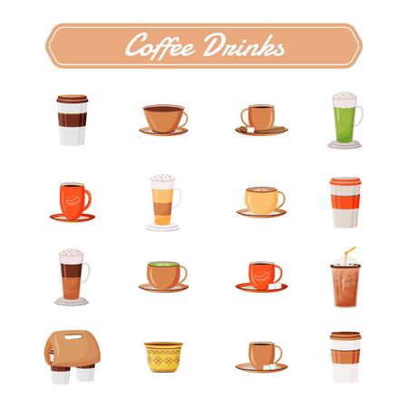 Coffee drinks flat color vector objects set. Cappuccino in ceramic mug. Latte take out from coffeehouse. Espresso and americano. Caffeine beverage 2D isolated cartoon illustrations on white background. ZIP file contains: EPS, JPG. If you are interested in custom design or want to make some adjustments to purchase the product, don't hesitate to contact us! bsd@bsdartfactory.com Illustration