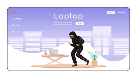Laptop theft landing page flat color vector template. Private property thievery. Burglar tiptoeing in house. Homepage layout. One page website interface with cartoon character. Web banner, webpage. ZIP file contains: EPS, JPG. If you are interested in custom design or want to make some adjustments to purchase the product, don't hesitate to contact us! bsd@bsdartfactory.com 일러스트