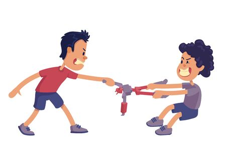 Siblings rivalry flat cartoon vector illustration. Brothers screaming and fighting for toy. Ilustración de vector