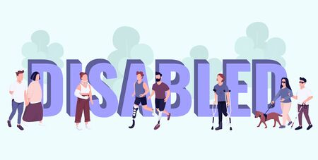 Disabled word concepts flat color vector banner. Isolated typography with tiny cartoon characters. People with disabilities and injuries active lifestyle creative illustration on blue. ZIP file contains: EPS, JPG. If you are interested in custom design or want to make some adjustments to purchase the product, dont hesitate to contact us! bsd@bsdartfactory.com Ilustracja